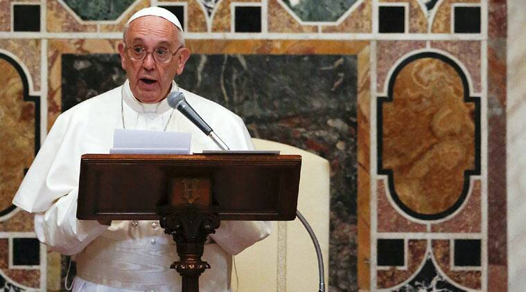 Pope Francis makes his speech during an audience with the diplomatic corps at the Vatican January 11, 2016. (REUTERS)
