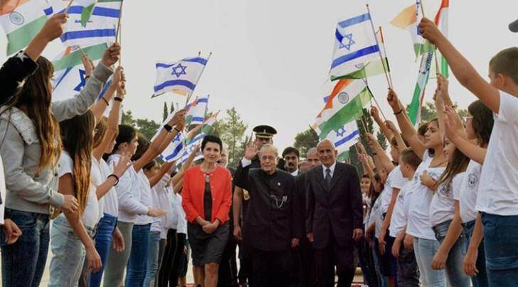 President Pranab Mukherjee during his visit to Israel in October