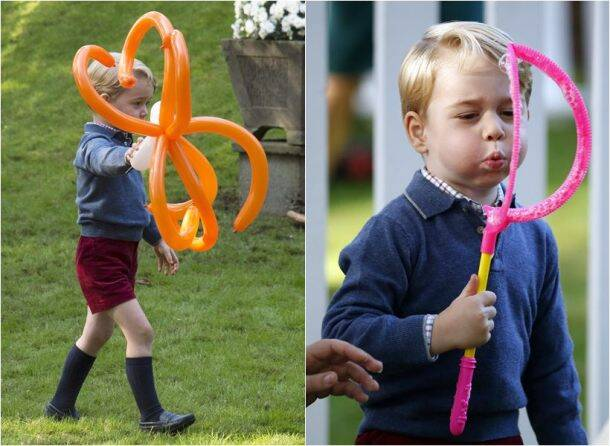 Royal sibling playing with balloons and bubbles is absolutely adorable