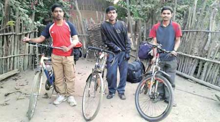 The students, who were allegedly abducted by Naxals, and later released. (Express Photo)