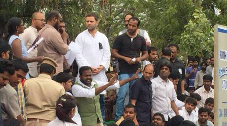 Congress Vice President Rahul Gandhi addressing students at Hyderabad Central University