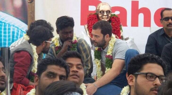 Congress Vice President Rahul Gandhi at the protest site in Hyderabad Central University (Photo: Twitter/INC India)