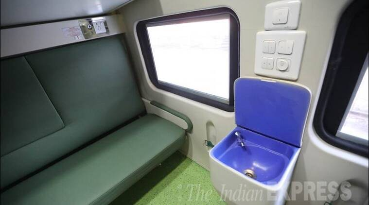 indian railway, new look of indian railway, trains new look, new look of trains, railway unveils new train coaches, new trains, suresh prabhu unveiled new look of trains, refurbished look of coaches, refurbished look of trains