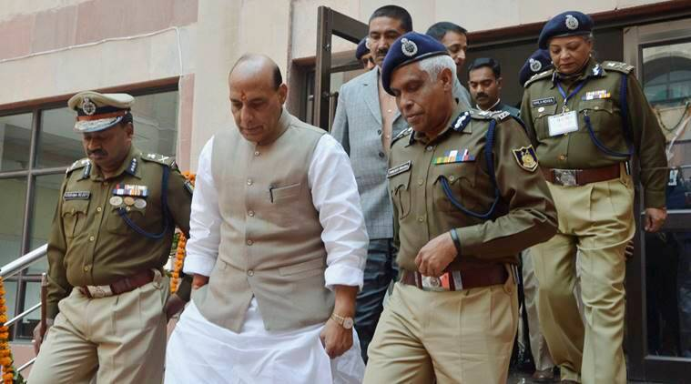 Gurgaon: Home Minister Rajnath Singh arrives to attend the National Conference for Women in Police, at CRPF's group centre Kadarpur near Gurgaon on Wednesday. PTI Photo (PTI1_6_2016_000123A)
