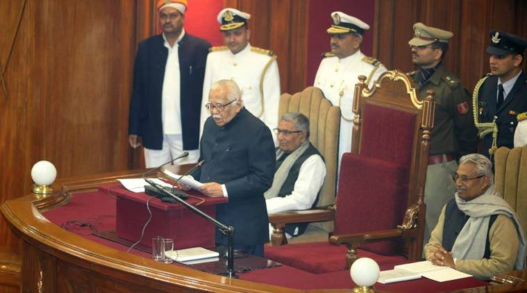 Uttar Pradesh Governer Ram Naik addressing assemby session on first day of the session at state assembly in Lucknow on Friday. (Express Photo by Vishal Srivastav)