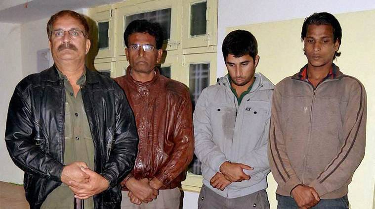 Bhopal: Two Ranji Trophy cricket players and two others were arrested under the Wildlife Conservation Act for hunting endangered black bucks in Sagar, Madhya Pradesh on Sunday. former Ranji Trophy player Mehmood Khan (L) and his son Rameej (2nd from R), were caught along with two others in Pamakhedi village hunting black buck. PTI Photo(PTI1_11_2016_000245B)