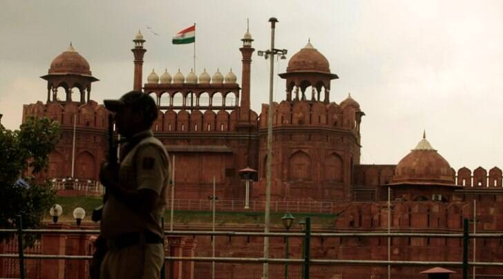 Security personnel at the Red Fort in New Delhi on Monday. (EXPRESS PHOTO BY Amit Mehra/27 July 2015)