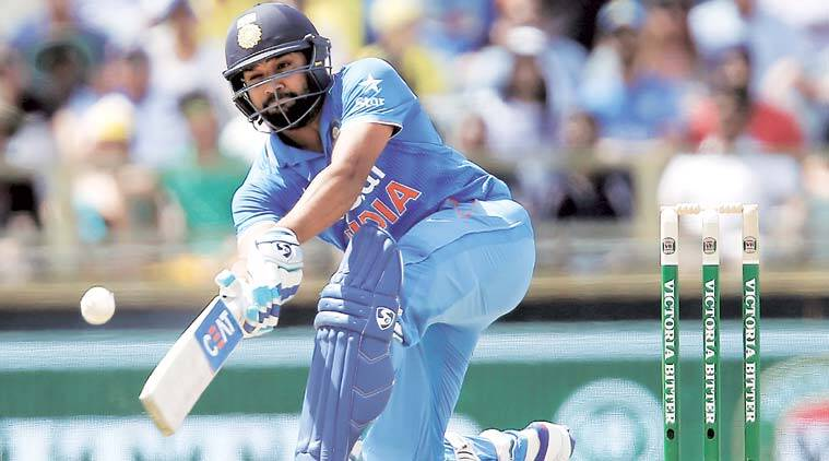 Rohit Sharma plays a shot at the WACA on Tuesday. Sharma's unbeaten 163-ball knock was laced with 13 fours and seven sixes.