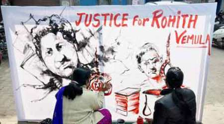 Rohith Vemula suicide, Dalit student suicide, HCU, Hyderabad Central University, Rahul Gandhi protest, Gandhi at HCU, Rohith Vemula suicide protest, Dalit student suicide protest