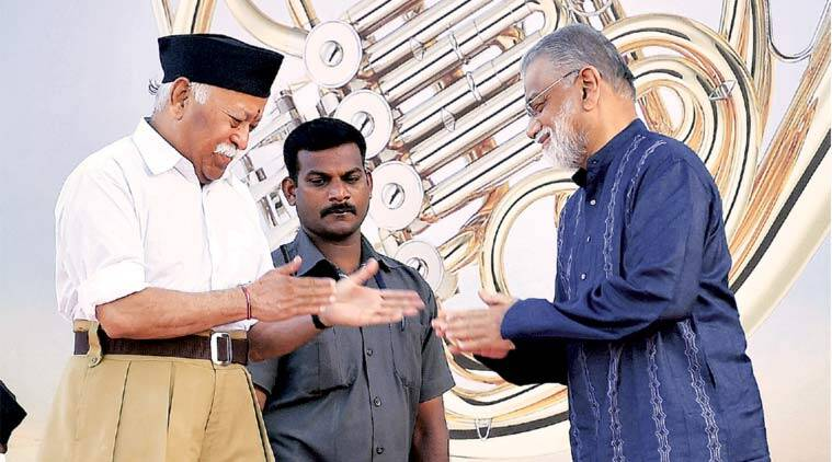 K Radhakrishnan with the RSS chief in Bengaluru.(Source: PTI)