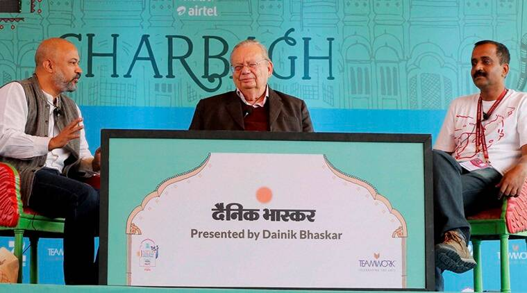Author Ruskin Bond (C) with Ravi Singh and Vikas Singh at a session during the Jaipur Literature Festival 2016 in Jaipur. (Photo: PTI)
