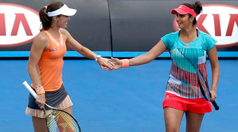 Martina Hingis and Sania Mirza after their win at the Australian Open (Source:AP)