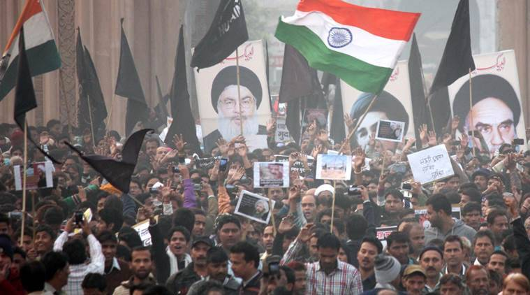 Shia Muslims hold a protest against Nimra Killing in Saudi Arabia at old city of Lucknow on monday.Express photo by Vishal Srivastav 04.01.2016
