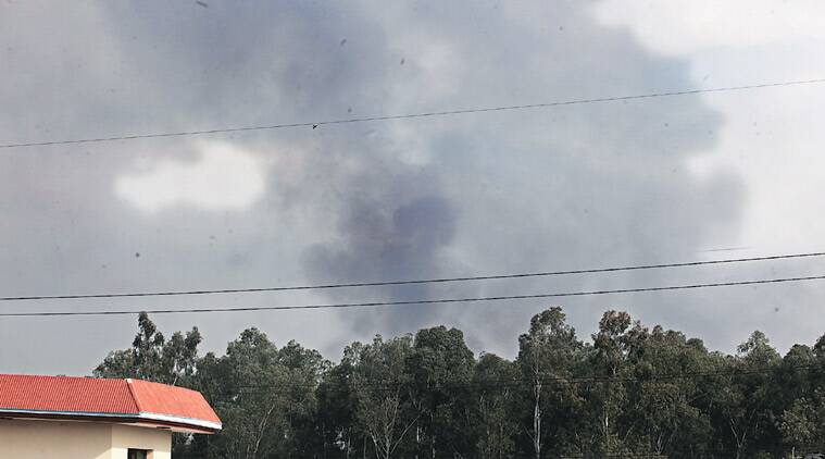 Smoke emanates from TBRL's forested area after the fire.  Photos: Jaipal Singh