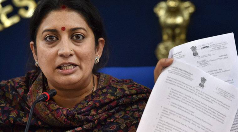 Union HRD Minister, Smriti Irani addressing a press conference regarding suicide of young research scholar Rohith Vemula in the University of Hyderabad, in New Delhi on Wednesday. (PTI Photo)