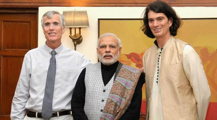New Delhi: Prime Minister Narendra Modi with WeWork founder and Start Up India participant Adam Neumann (R), in New Delhi on Friday. PTI Photo(PTI1_15_2016_000300B)