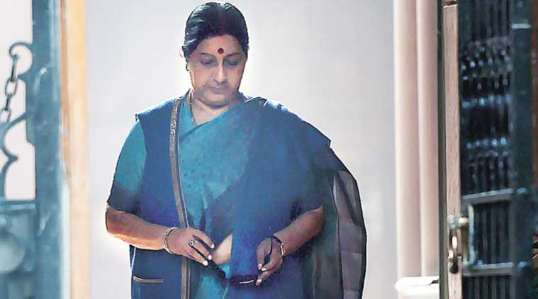 External Affairs Minister Sushma Swaraj leaves after a Cabinet meeting in New Delhi on Wednesday. (Source: PTI)