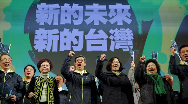 Democratic Progressive Party (DPP) Chairperson and presidential candidate Tsai Ing-wen (3rd R) celebrates her election victory with other party members at the party's headquarters in Taipei, Taiwan January 16, 2016. REUTERS/Damir Sagolj