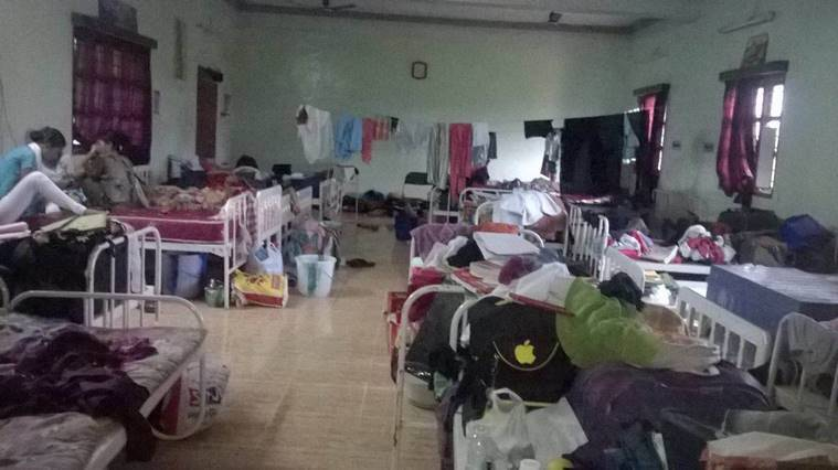 The inpatient ward where girl students sheltered in the night. Express Photo/Arun Janardhanan