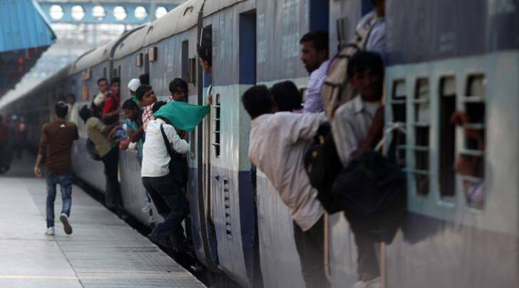 People boarding a train at the railway station in Ludhiana, Punjab (Express Photo by Gurmeet Singh)