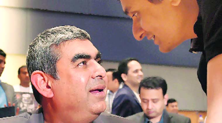 Infosys Chief Executive Officer Vishal Sikka (left), with CFO Ranganath D Mavinakere in Bengaluru on Thursday. (Source: PTI)