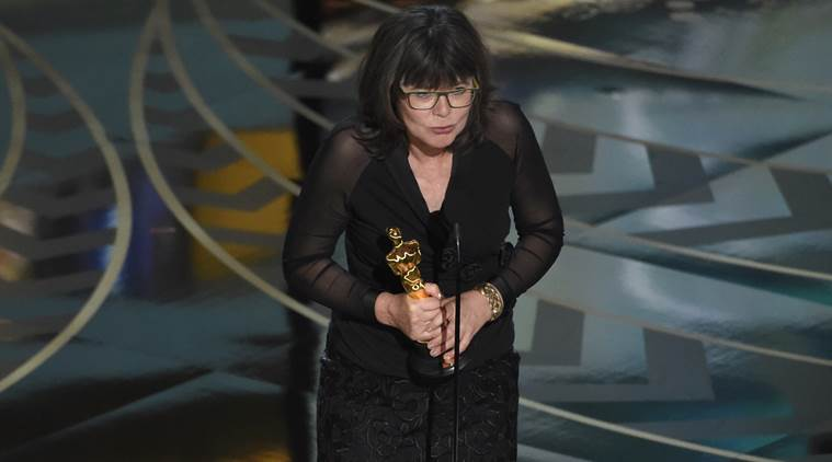 "Margaret Sixel accepts the award for best film editing for ""Mad Max: Fury Road"" at the Oscars. (Source: AP)"