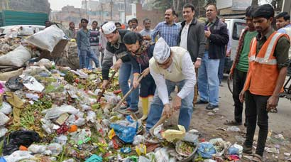 Broom in hand, Aam Aadmi Party cleans the streets of Delhi