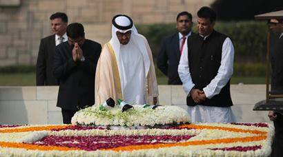 Abu Dhabi crown prince lays wreath at Gandhi memorial at Rajghat