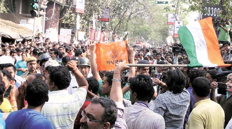 An ABVP protest in Kolkata against a Jadavpur University event triggered by what was happening at JNU. Partha Paul