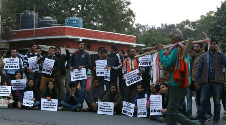 abvp student protest at their Campus for against anti National activitics Express Photo by Renuka Puri.
