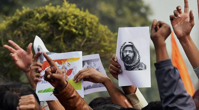 afzal guru, jawaharlal nehru university, jnu, jnu protest, JNU afzal Guru, afzal guru film protest, jnu afzal guru film, jnu student sedition case, india news, latest news, indian express, indian express editorial