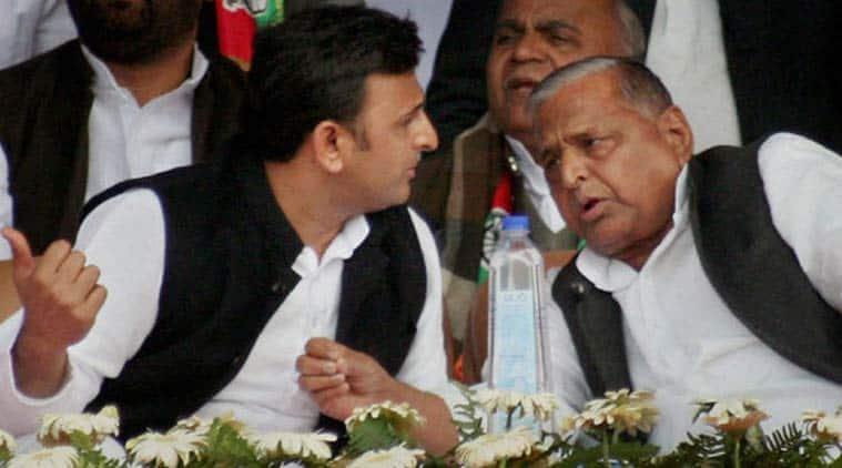 Uttar Pradesh Chief Minister Akhilesh Yadav and Samajwadi party president Mulayam Singh Yadav. (Source: PTI)