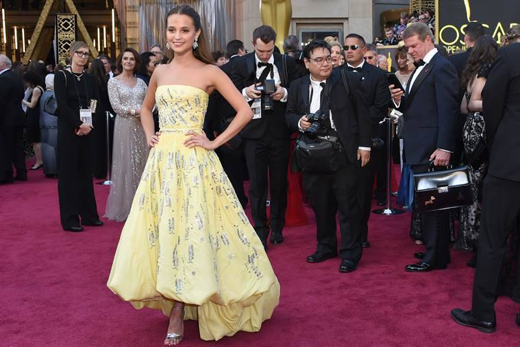 Alicia Vikander arrives at the Oscars on Sunday, Feb. 28, 2016, at the Dolby Theatre in Los Angeles. (Photo by Richard Shotwell/Invision/AP)