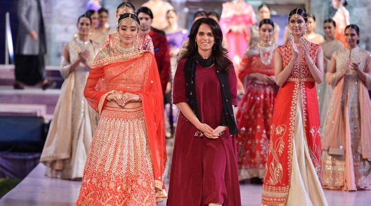 Designer Anita Dongre (R) with her collection at the Make in India Week.