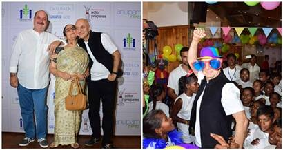 Anupam Kher celebrates father's death anniversary with underprivileged kids and family