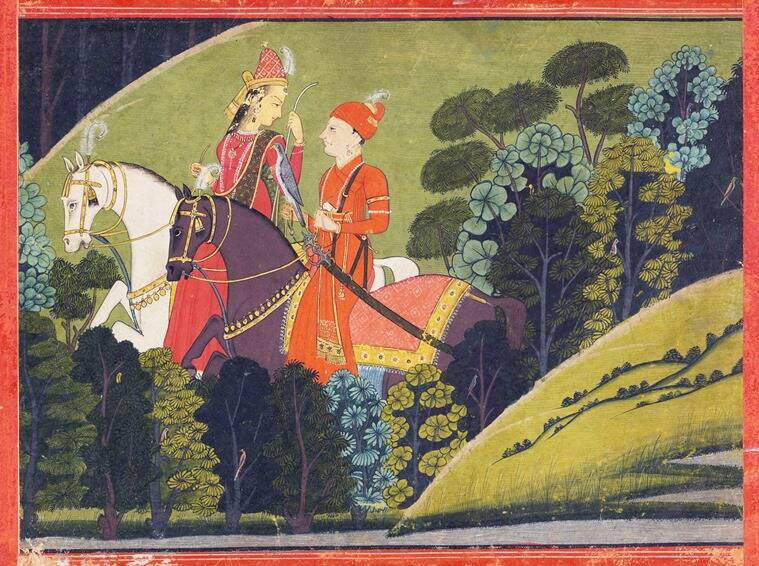 Baz Bahadur And Rupmati Riding At Night From The Kangra School Of Painting