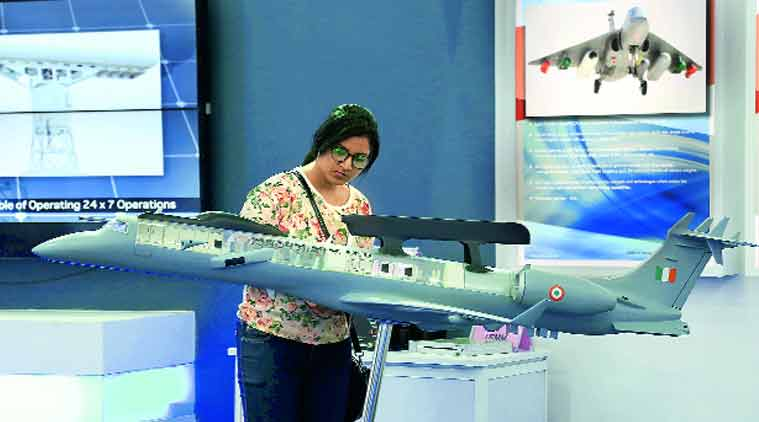 A visitor checks out an installation on day one of the Make In India Week at Bandra Kurla Complex on Saturday. (Prashant Nadkar)