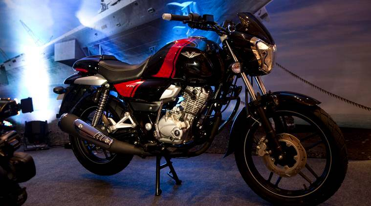 """Bajaj Auto's new commuter motorcycle """"V""""  is seen on display during its unveiling ceremony in New Delhi, India, Monday, Feb. 1, 2016. The motorcycle will be available in the market from March, 2016, and will cost between Indian Rupees 60,000 (0) to 70,000 (50). (AP Photo)"""