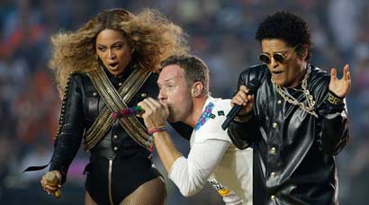 Beyonce, Bruno Mars, Coldplay at Super Bowl halftime show