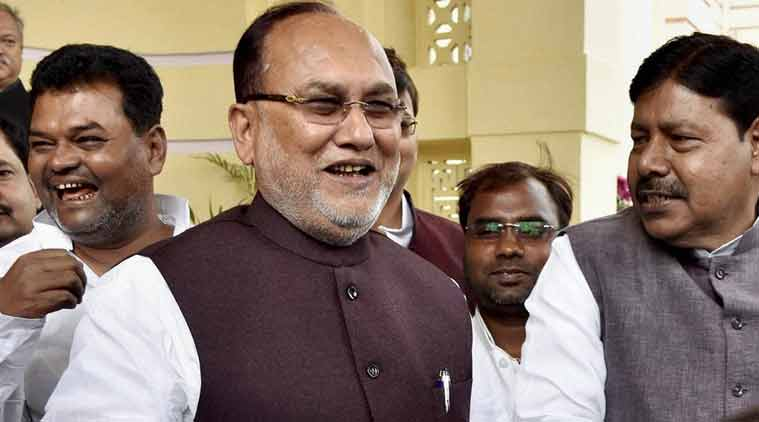 Bihar Finance Minister Abdul Bari Siddiqui arrives at Bihar Assembly for presenting state budget in Patna on Friday. (PTI Photo)