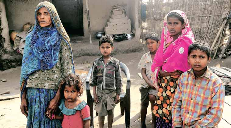 Rukhsana Khatoon, wife of Mohd Shagir, and her children at Gokhlapur in Araria district. (Express Photo Prashant Ravi)