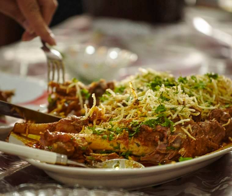 Bohri4_759_Raan in Red Masala garnished with Salli wafers & coriander at The Bohri Kitchen