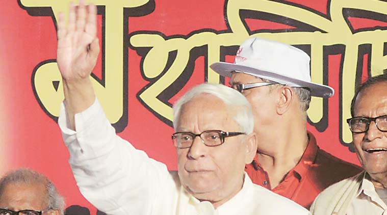 Former chief minister Buddhadeb  Bhattacharjee during a CPM rally in Barrackpore  on Thursday. (Express Photo)