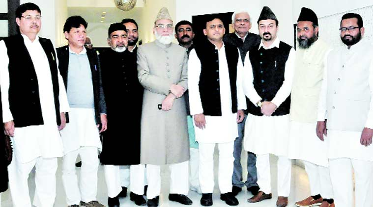 Syed Ahmed Bukhari and others meet Chief Minister Akhilesh Yadav at his official residence in Lucknow on Sunday. Express