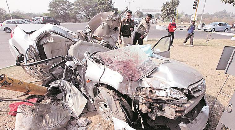 Damaged Car after accident at Traffic Light Point between Sector 31 and 47 near Kalibari Temple in Chandigarh on Sunday, February 28 2016. Express Photo by Kamleshwar Singh