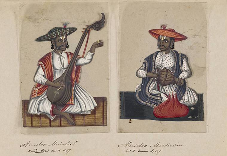 Pages from Seventy-two Specimens of Castes in India according to Christian Missionaries in February 1837. In this image, a combination of Hindu musicians. Wikimedia Commons/Beinecke Rare Book & Manuscript Library, Yale University