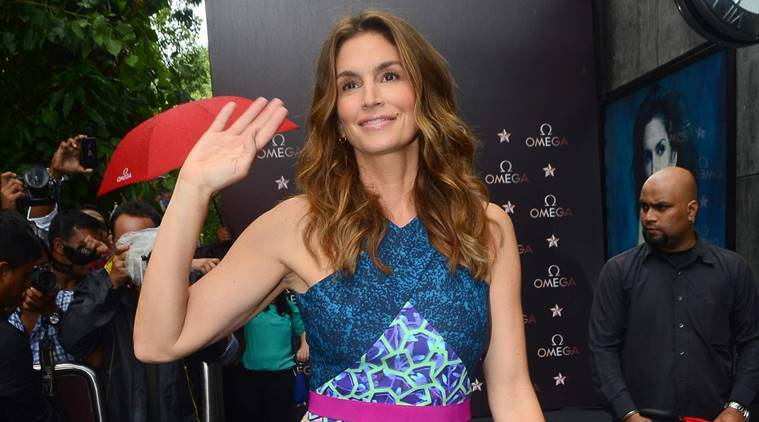 Mumbai: American model Cindy Crawford during the launch of a product in Mumbai. (Photo: IANS)