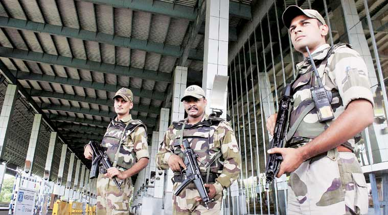 Armed CISF jawans stand guard outside the airport in Nagpur in the wake of the attack on the IAF base in Pathankot. (Source: PTI)