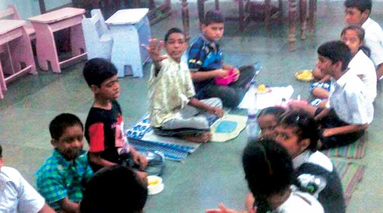 Children having lunch at one of the 17 schools.