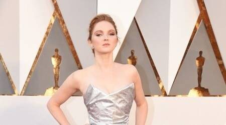 Lily Cole flaunts dress made of plastic bottles on the Oscars 2016 redcarpet